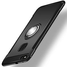 Huawei Honor 8 Lite用ハイブリットバンパーケース プラスチック アンド指輪 兼シリコーン カバー ファーウェイ ブラック