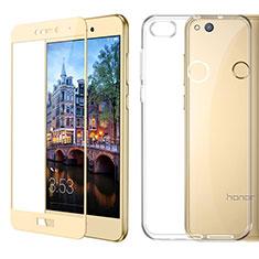 Huawei Honor 8 Lite用極薄ソフトケース シリコンケース 耐衝撃 全面保護 クリア透明 アンド液晶保護フィルム ファーウェイ ゴールド