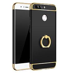 Huawei Honor 8 Pro用ケース 高級感 手触り良い メタル兼プラスチック バンパー アンド指輪 A01 ファーウェイ ブラック