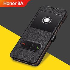 Huawei Honor 8A用手帳型 レザーケース スタンド ファーウェイ ブラック