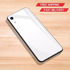 Huawei Honor 8A用ハイブリットバンパーケース プラスチック 鏡面 カバー ファーウェイ ホワイト