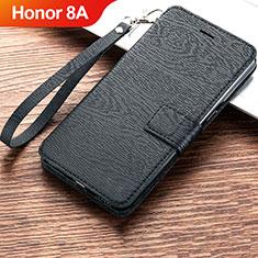 Huawei Honor 8A用手帳型 レザーケース スタンド カバー ファーウェイ ブラック