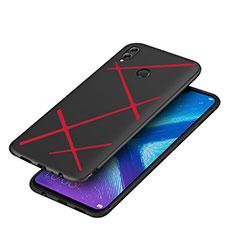 Huawei Honor 8X用シリコンケース ソフトタッチラバー ツイル ファーウェイ レッド