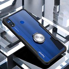 Huawei Honor 8X用360度 フルカバーハイブリットバンパーケース クリア透明 プラスチック 鏡面 アンド指輪 マグネット式 ファーウェイ ブラック