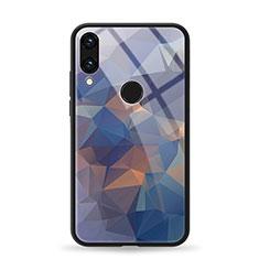 Huawei Honor 8X用ハイブリットバンパーケース プラスチック パターン 鏡面 カバー ファーウェイ ネイビー