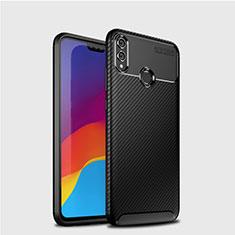 Huawei Honor 8X用シリコンケース ソフトタッチラバー ツイル カバー T01 ファーウェイ ブラック