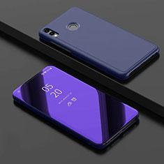 Huawei Honor 8X用手帳型 レザーケース スタンド 鏡面 カバー ファーウェイ ネイビー