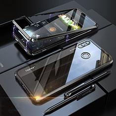 Huawei Honor 8X用ケース 高級感 手触り良い アルミメタル 製の金属製 360度 フルカバーバンパー 鏡面 カバー P01 ファーウェイ ブラック