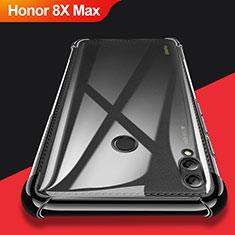 Huawei Honor 8X Max用極薄ソフトケース シリコンケース 耐衝撃 全面保護 クリア透明 T08 ファーウェイ ブラック