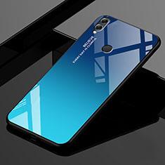 Huawei Honor 8X Max用ハイブリットバンパーケース プラスチック 鏡面 虹 グラデーション 勾配色 カバー ファーウェイ ネイビー