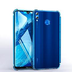 Huawei Honor 8X Max用極薄ソフトケース シリコンケース 耐衝撃 全面保護 クリア透明 H03 ファーウェイ ブルー