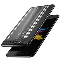 Huawei Honor 9用360度 フルカバーハイブリットバンパーケース クリア透明 プラスチック 鏡面 T02 ファーウェイ ブラック