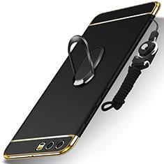 Huawei Honor 9用ケース 高級感 手触り良い メタル兼プラスチック バンパー アンド指輪 亦 ひも ファーウェイ ブラック