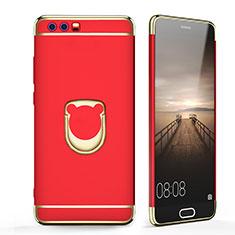 Huawei Honor 9用ケース 高級感 手触り良い メタル兼プラスチック バンパー アンド指輪 ファーウェイ レッド