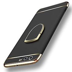 Huawei Honor 9用ケース 高級感 手触り良い メタル兼プラスチック バンパー アンド指輪 ファーウェイ ブラック
