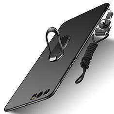 Huawei Honor 9用ハードケース プラスチック 質感もマット アンド指輪 亦 ひも ファーウェイ ブラック