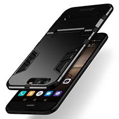 Huawei Honor 9用ハイブリットバンパーケース スタンド プラスチック 兼シリコーン ファーウェイ ブラック