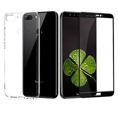Huawei Honor 9 Lite用極薄ソフトケース シリコンケース 耐衝撃 全面保護 クリア透明 アンド液晶保護フィルム ファーウェイ ブラック
