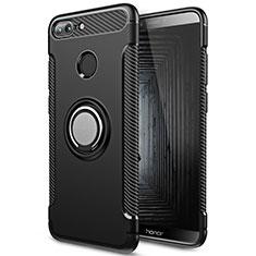 Huawei Honor 9 Lite用ハイブリットバンパーケース プラスチック アンド指輪 兼シリコーン ファーウェイ ブラック