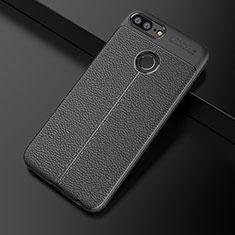 Huawei Honor 9 Lite用シリコンケース ソフトタッチラバー レザー柄 ファーウェイ ブラック