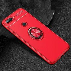 Huawei Honor 9 Lite用極薄ソフトケース シリコンケース 耐衝撃 全面保護 アンド指輪 マグネット式 バンパー ファーウェイ レッド