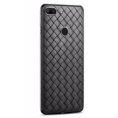 Huawei Honor 9 Lite用シリコンケース ソフトタッチラバー レザー柄 S01 ファーウェイ ブラック
