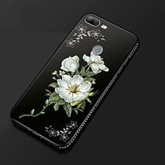 Huawei Honor 9 Lite用シリコンケース ソフトタッチラバー 花 カバー ファーウェイ ブラック