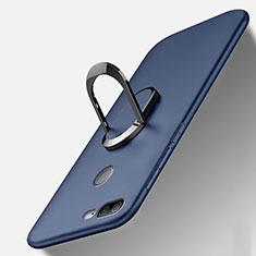 Huawei Honor 9 Lite用極薄ソフトケース シリコンケース 耐衝撃 全面保護 アンド指輪 マグネット式 バンパー A01 ファーウェイ ネイビー