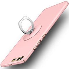 Huawei Honor 9 Premium用ハードケース プラスチック 質感もマット アンド指輪 ファーウェイ ピンク
