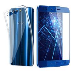 Huawei Honor 9 Premium用極薄ソフトケース シリコンケース 耐衝撃 全面保護 クリア透明 アンド液晶保護フィルム ファーウェイ ネイビー