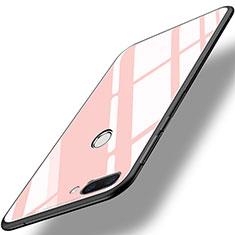 Huawei Honor 9i用ハイブリットバンパーケース プラスチック 鏡面 カバー ファーウェイ ピンク