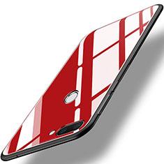 Huawei Honor 9i用ハイブリットバンパーケース プラスチック 鏡面 カバー ファーウェイ レッド