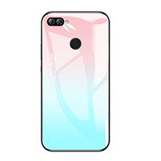 Huawei Honor 9i用ハイブリットバンパーケース プラスチック 鏡面 虹 グラデーション 勾配色 カバー ファーウェイ ブルー