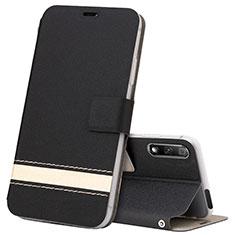 Huawei Honor 9X用手帳型 レザーケース スタンド カバー L04 ファーウェイ ブラック