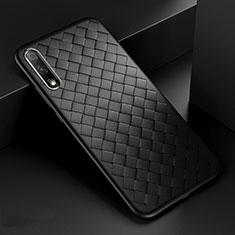Huawei Honor 9X用シリコンケース ソフトタッチラバー レザー柄 カバー S04 ファーウェイ ブラック