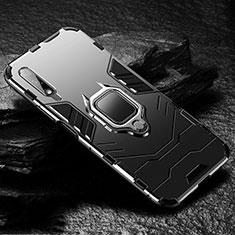 Huawei Honor 9X用ハイブリットバンパーケース プラスチック アンド指輪 マグネット式 S01 ファーウェイ ブラック