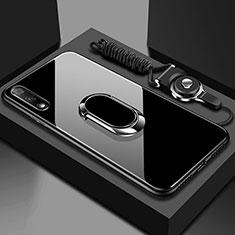 Huawei Honor 9X用ハイブリットバンパーケース プラスチック 鏡面 カバー アンド指輪 マグネット式 ファーウェイ ブラック