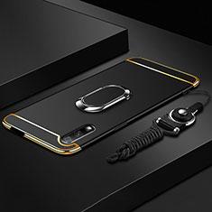Huawei Honor 9X用ケース 高級感 手触り良い メタル兼プラスチック バンパー アンド指輪 A01 ファーウェイ ブラック