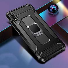 Huawei Honor 9X用ハイブリットバンパーケース プラスチック アンド指輪 マグネット式 S04 ファーウェイ ブラック