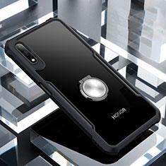 Huawei Honor 9X用360度 フルカバーハイブリットバンパーケース クリア透明 プラスチック 鏡面 アンド指輪 マグネット式 ファーウェイ ブラック