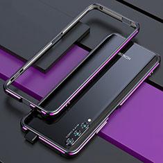 Huawei Honor 9X Pro用ケース 高級感 手触り良い アルミメタル 製の金属製 バンパー カバー ファーウェイ パープル・ブラック