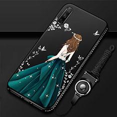 Huawei Honor 9X Pro用シリコンケース ソフトタッチラバー バタフライ ドレスガール ドレス少女 カバー ファーウェイ グリーン