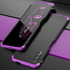 Huawei Honor 9X Pro用ケース 高級感 手触り良い アルミメタル 製の金属製 カバー ファーウェイ パープル