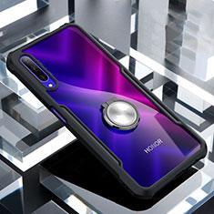 Huawei Honor 9X Pro用360度 フルカバーハイブリットバンパーケース クリア透明 プラスチック 鏡面 アンド指輪 マグネット式 ファーウェイ ブラック