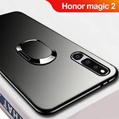 Huawei Honor Magic 2用極薄ソフトケース シリコンケース 耐衝撃 全面保護 アンド指輪 マグネット式 A02 ファーウェイ ブラック
