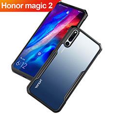 Huawei Honor Magic 2用ハイブリットバンパーケース クリア透明 プラスチック 鏡面 カバー ファーウェイ ブラック
