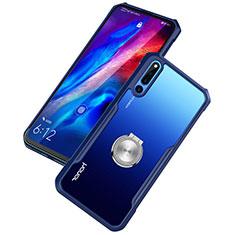 Huawei Honor Magic 2用360度 フルカバーハイブリットバンパーケース クリア透明 プラスチック 鏡面 アンド指輪 マグネット式 ファーウェイ ネイビー