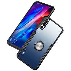 Huawei Honor Magic 2用360度 フルカバーハイブリットバンパーケース クリア透明 プラスチック 鏡面 アンド指輪 マグネット式 ファーウェイ ブラック