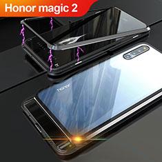Huawei Honor Magic 2用ケース 高級感 手触り良い アルミメタル 製の金属製 バンパー 鏡面 カバー ファーウェイ ブラック