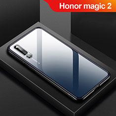 Huawei Honor Magic 2用ハイブリットバンパーケース クリア透明 プラスチック 鏡面 カバー M01 ファーウェイ ブラック